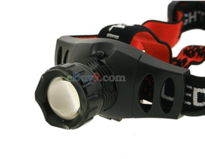 CREE Q5 210 Lumen 3 Modes Rechargeable Head Stretch Adjustable Head Lamp Kit (Black)}-As picture