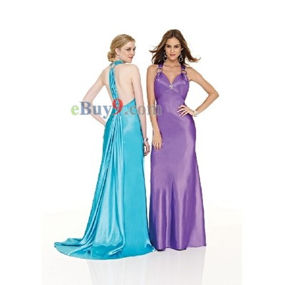 Empire Waist Halter Sleeveless Elastic Satin Evening/ Prom Dress-As picture