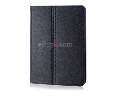 Litchi Pattern PU Leather Case with Stand for Samsung P6800 (Black)-As picture
