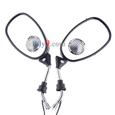 Electric Motorcycle Bike Rearview Mirrors MP3 FM Radio Speaker-As picture