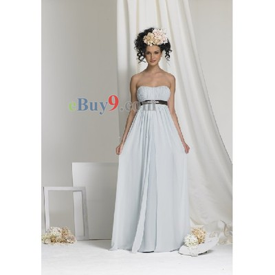 Empire Waist Strapless Sleeveless Chiffon Bridesmaid/ Wedding Party/ Evening Dress-As picture