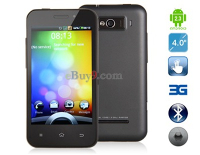 4,0 WVGA kapazitiven Touchscreen Android 2.3.4 Smartphone mit 3G, WiFi, GPS (Schwarz)-schwarz