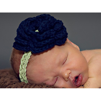 newborn girl hat knit crochet flower headband efd2w-Blue