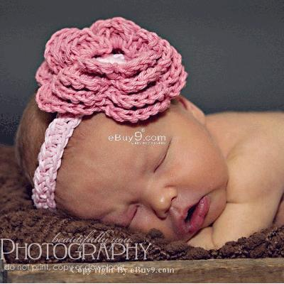new born girl hat knit crochet flower headband efd8w-Pink