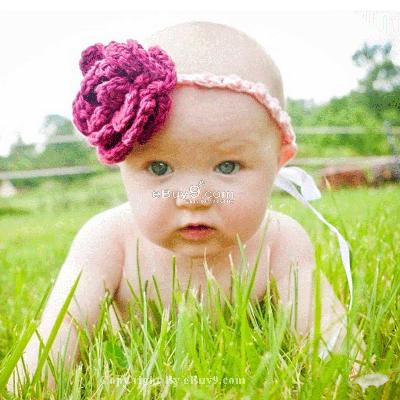 newborn baby hat knit crochet flower headband cute efg1w-Purple