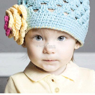 KNIT Flower Crochet Toddler Baby Hat Photography Prop HANDMADE Kid cap et22w-Blue