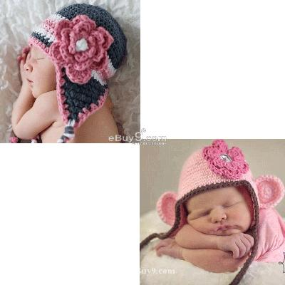 2X Toddler Baby Crochet Hat Photography Prop HANDMADE et2ffw-Multi Color