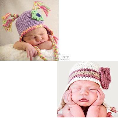 2X Toddler Baby Crochet Hat Photography Prop HANDMADE et2PPw-Multi Color