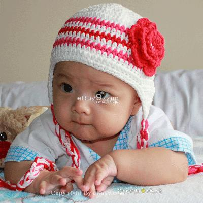 Infant Toddler Beanie baby Hat Cap Crochet Handmade Photography Prop et61w-White