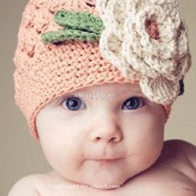 KNIT Flower Crochet Toddler Baby Hat Photography Prop HANDMADE Kid cap et88w-Pink