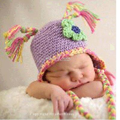 Infant Toddler Beanie baby Hat Cap Crochet Handmade Photography Prop et99w-Purple