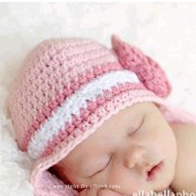 Infant Toddler Beanie baby Hat Cap Crochet Handmade Photography Prop etccw-Pink