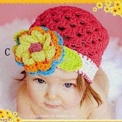 Flower Crochet Toddler Baby Hat Photography Prop HANDMADE Kid cap ete1w-Red