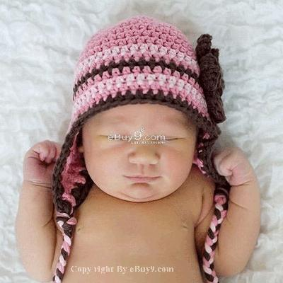 KNIT Flower Crochet Toddler Baby Hat Photography Prop HANDMADE Kid cap eti8w-Pink