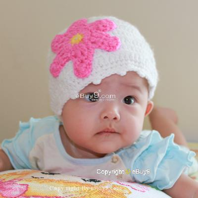 Flower Crochet Toddler Baby Hat Photography Prop HANDMADE Kid cap etiaw-White