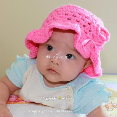 Flower Crochet Toddler Baby Hat Photography Prop HANDMADE Kid cap etj1w-Pink