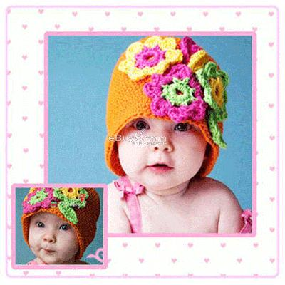 Flower Crochet Toddler Baby Hat Photography Prop HANDMADE Kid cap etk9w-Orange