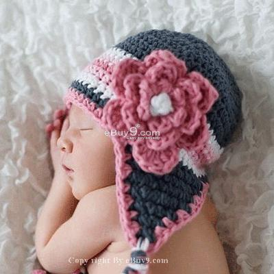 Infant Toddler Beanie baby Hat Cap Crochet Handmade Photography Prop etkkw-Purple
