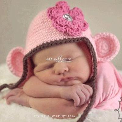 Flower Crochet Toddler Baby Hat Photography Prop HANDMADE Kid cap etm1w-Pink