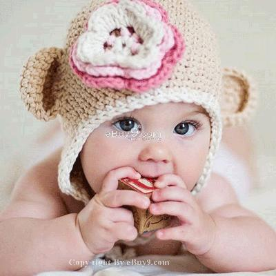Flower Crochet Toddler Baby Hat Photography Prop HANDMADE Kid cap etm6w-Beige
