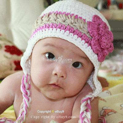 Infant Toddler Beanie baby Hat Cap Crochet Handmade Photography Prop etq6w-White