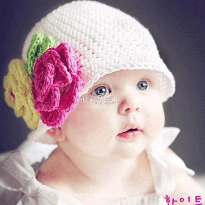 Flower Crochet Toddler Baby Hat Photography Prop HANDMADE Kid cap ett6w-White