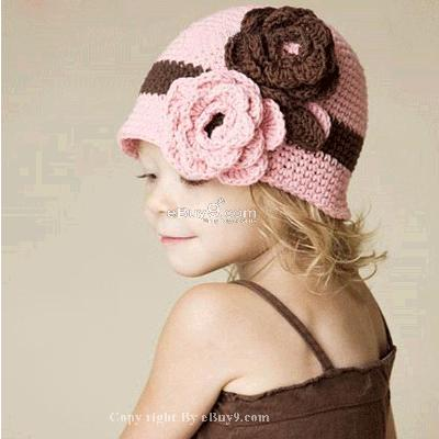 Flower Crochet Toddler Baby Hat Photography Prop HANDMADE Kid cap etuaw-Pink