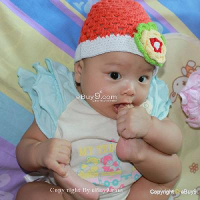 Toddler Baby Hat Photography Prop HANDMADE Kid cap etw8w-Orange