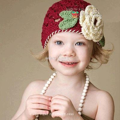 Flower Crochet Toddler Baby Hat Photography Prop HANDMADE Kid cap etXaw-Red