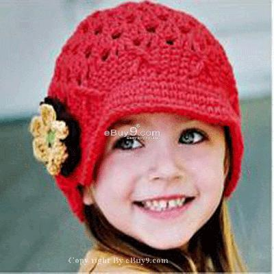Flower Crochet Toddler Baby Hat Photography Prop HANDMADE Kid cap ety1w-Red