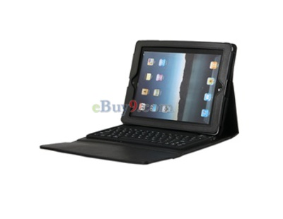 Portable PU Leather Bluetooth Keyboard Case and Stand for iPad 2-As picture