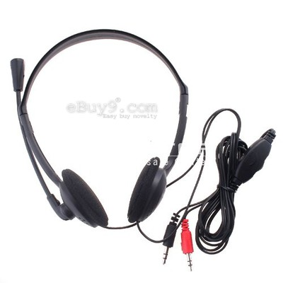 XTY-21 3.5mm PC Microphone Headphone Headset MSN Skype Talk - black-As picture