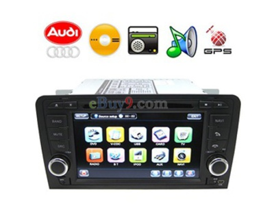 Audi A3 2-Din  In-Dash 7 Touch TFT Screen DVD Player with GPS,  Analog TV, Bluetooth (EMS Shipping)-As picture