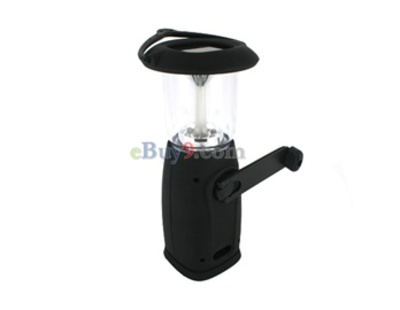 6 LED Solar Power Hand-Winding Flashlight Lamp (Black)-As picture