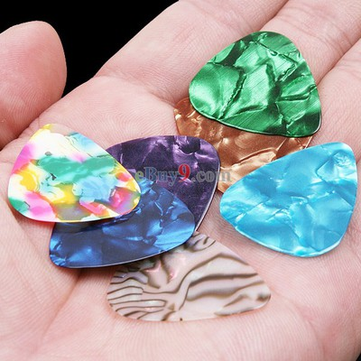 7Pcs Stylish Colorful Celluloid Guitar Picks Plectrums 0.46mm Assorted color-As picture