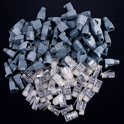 50 Set Of RJ45 Connectors Modular Plugs + Boots/Caps-As picture