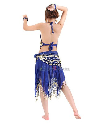 Coins Sequins Tops Waist Link &amp; Trousers for Belly Dance Blue-As picture
