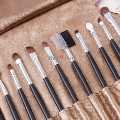18 PCS Nylon Hair Makeup Brush Set + Golden PU Pouch Bag-As picture