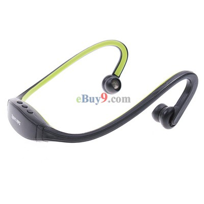 Wrap Around Wireless Headphones Headset Sport MP3 Player 2GB Green-As picture