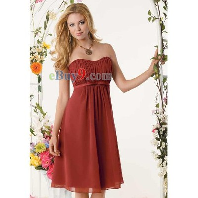 Empire Waist Knee-length Strapless Sleeveless Chiffon Bridesmaid/ Wedding Party/ Evening Dress-As picture