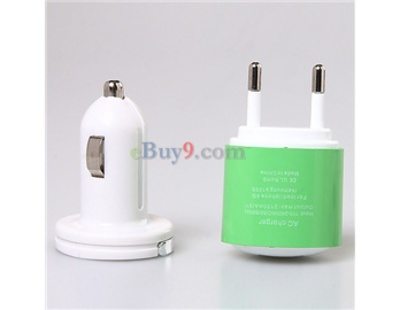 Mini 4 in 1 Power Cable + AC Charger + Car Charger Kit for iPad/iPhone3GS/4G/Nokia BB/HTC (Green)}-As picture