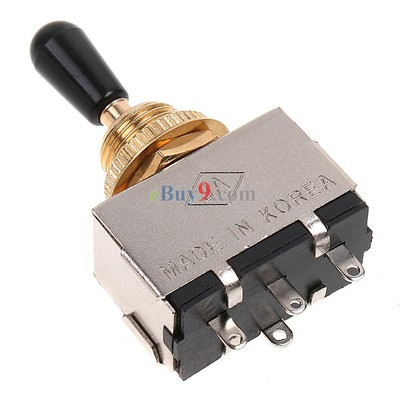 Golden 3 Way Toggle Switch for Electric Guitar with Black Knob-As picture