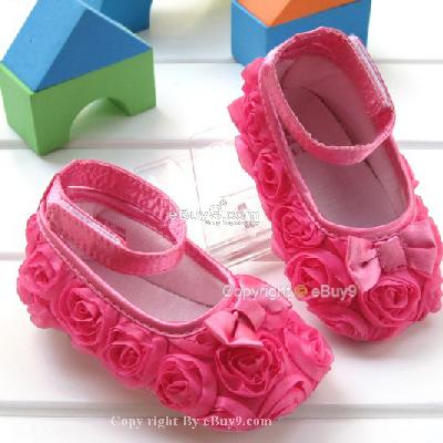 Hot pink toddler baby girl shoes Rose flower gz81w}-Pink