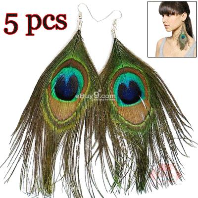 5 Pair Womens Peacock Feather Pierced Earrings KQehw-Multi Color