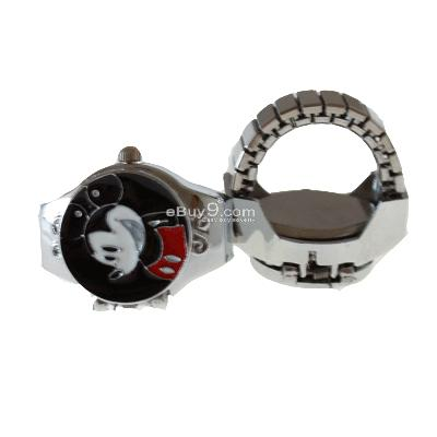 Cute Mickey Mouse Pocket Finger Ring Quartz Watch fun lsmkw-Black