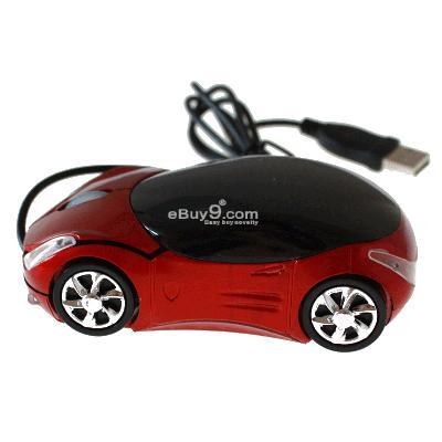 Car Optical USB Mouse FOR Laptop Computer-Red