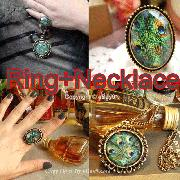Cute Peacock Feather Oval Retro Ring + Necklace quew-As picture