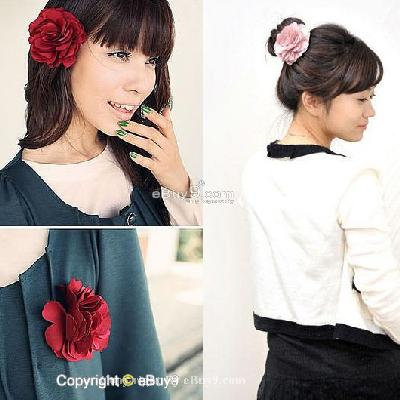 Silky Rose Flower Hat Hair Clip Brooch 7 Pcs yz07w-As picture